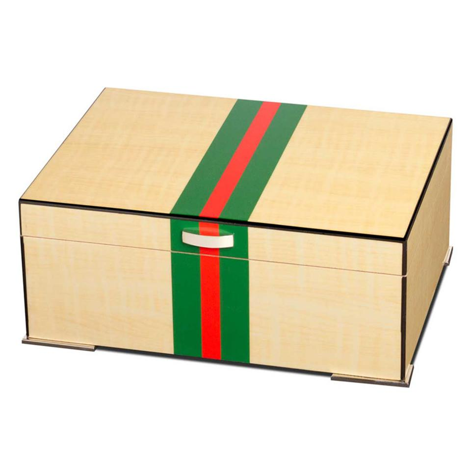 Regio 75 Cigar Count Humidor | Red & Green Stripes - Shades of Havana