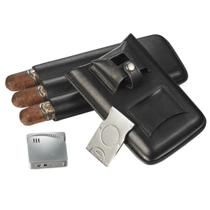 Renly Black Leather 3 Cigar Case with Lighter and Cutter - Shades of Havana