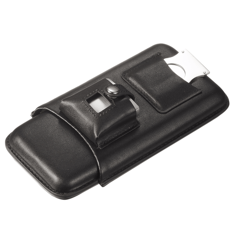 Renly Black Leather 3 Cigar Case with Lighter and Cutter