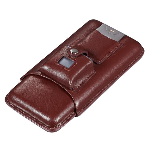 Renly Brown Leather 3 Cigar Case with Lighter and Cutter