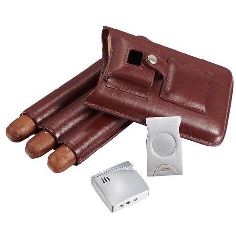 Renly Brown Leather 3 Cigar Case with Lighter and Cutter - Shades of Havana