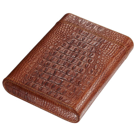 Image of Rennes Crocodile Pattern Leather Travel 5 Cigar Case - Shades of Havana