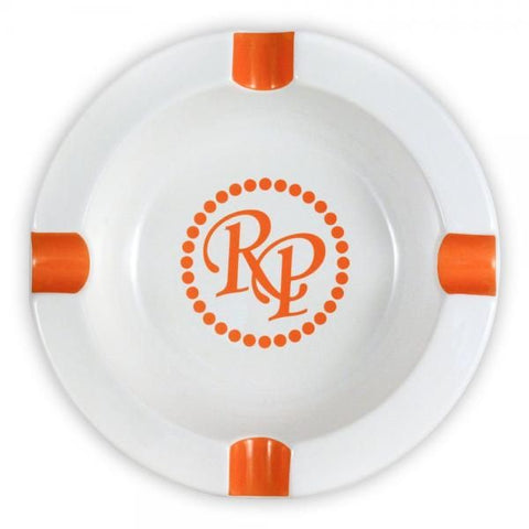 Image of Rocky Patel Orange White Round 4-Finger Ashtray