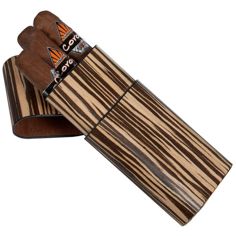 Image of Sawyer Zebra Wood 3 Cigar Case - Shades of Havana