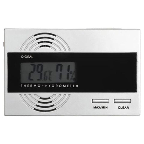 Image of Silver Digital Thermo Hygrometer for Cigar Humidors - Shades of Havana