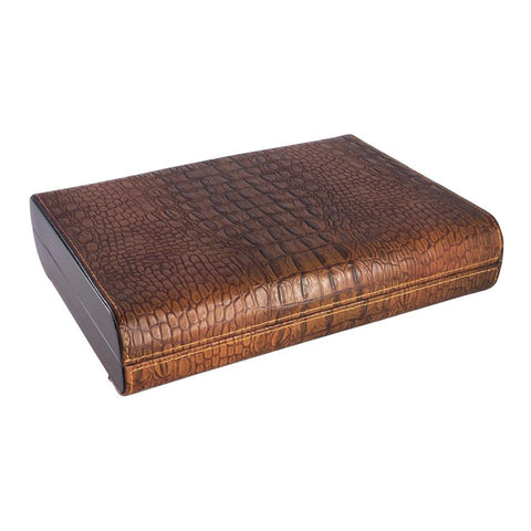 Image of Sobek Brown Leather Travel Humidor 10 Cigar Count - Shades of Havana