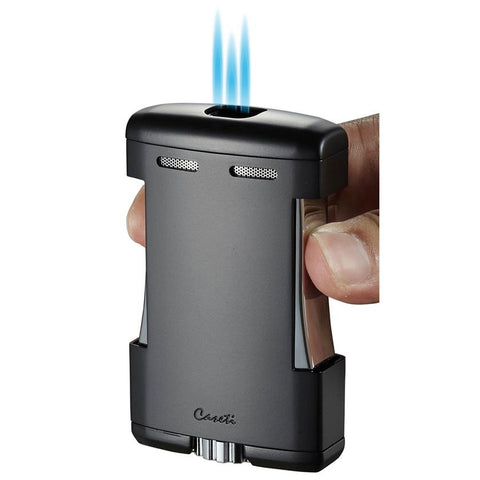 Image of Sparta - Black Matte Triple Torch Flame Cigar Table Lighter - Caseti - Shades of Havana