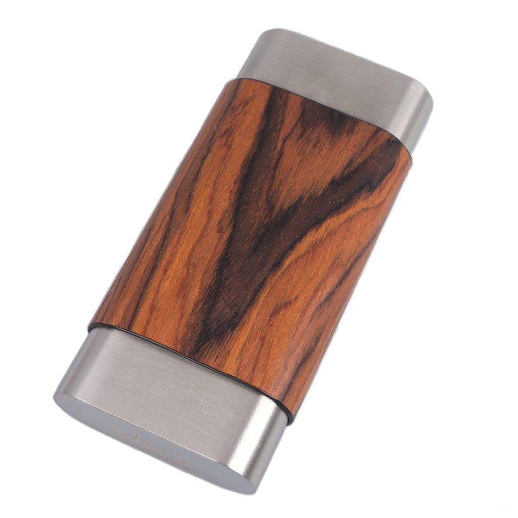 Terran Natural Wood & Stainless Steel Cigar Case - Shades of Havana