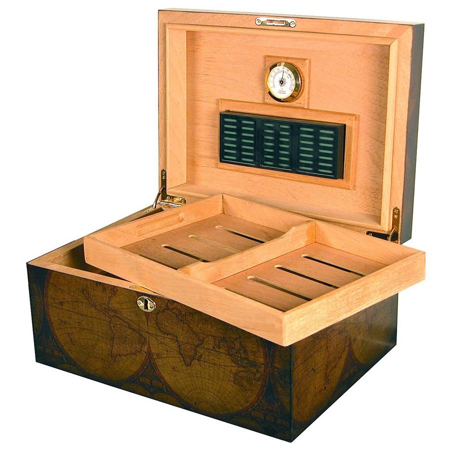 Old World Antique Humidor 100 Cigar Capacity - Shades of Havana