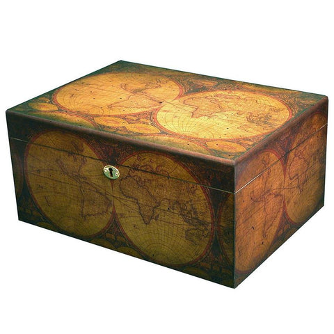 Image of Old World Antique Humidor 100 Cigar Capacity - Shades of Havana