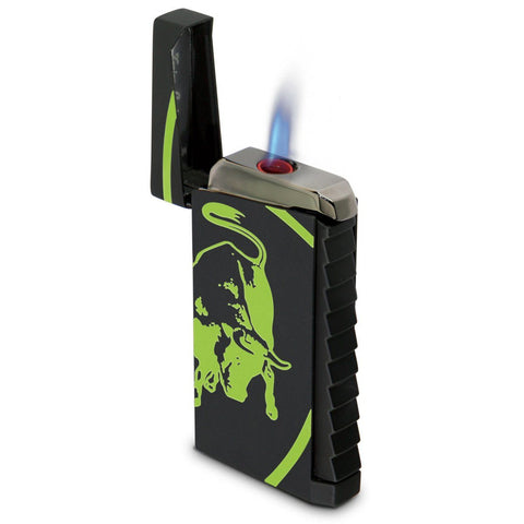 Image of Toro - Black Rubberized Finish Lighter - Green Bull - Tonino Lamborghini - Shades of Havana
