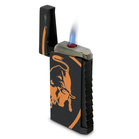Image of Toro - Black Rubberized Finish Lighter - Orange Bull - Tonino Lamborghini