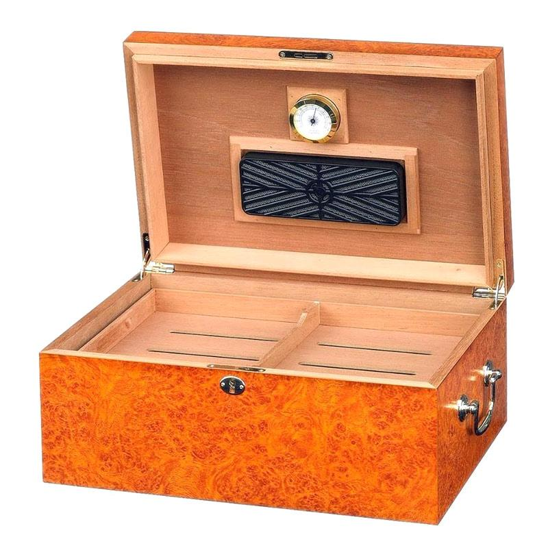 Tuscany Humidor 100 Cigar Count | Light Burl Finish - Shades of Havana