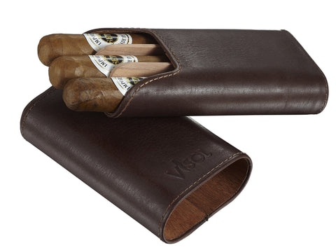 Cuero 3 Finger Genuine Leather Cigar Case - Shades of Havana