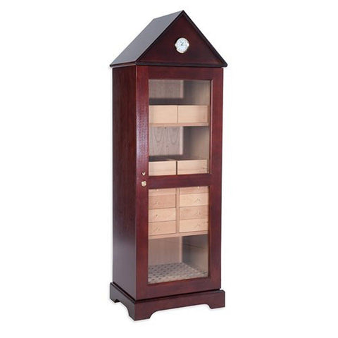 Image of Verona Deluxe Humidor Tower 3000 Cigar Cabinet - Shades of Havana