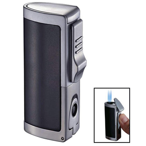 Image of Aleus Black Matte Triple Jet Cigar Lighter with Built-in Punch - Shades of Havana
