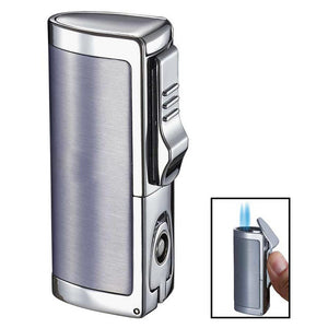 Aleus Black Matte Triple Jet Cigar Lighter with Built-in Punch - Shades of Havana