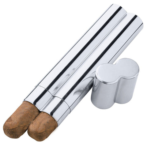 Image of Bacuit Metal 2 Cigar Tube | Stainless Steel - Shades of Havana