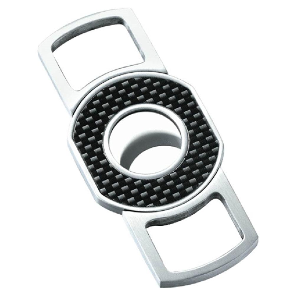 Cabral Carbon Fiber Guillotine Cigar Cutter | Brushed Chrome - Shades of Havana