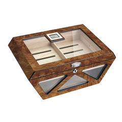 Collin Glass Top Electronic Humidor | 100 Cigar Count Burlwood - Shades of Havana