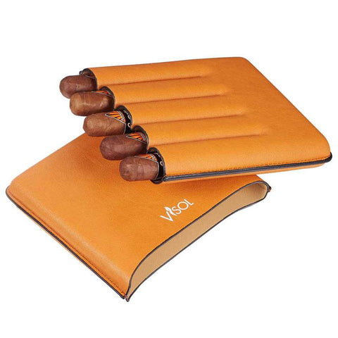 Image of Dakota Tan 60 Ring Gauge Cigar Case | 5 Cigar Count - Shades of Havana