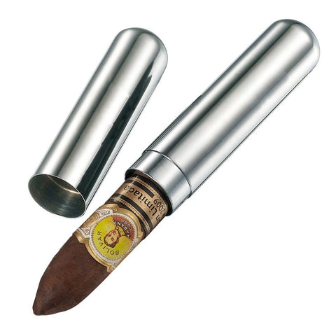 Image of Delta Satin Finish Stainless Steel 1 Cigar Tube Case - Shades of Havana