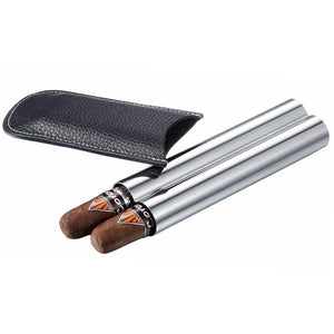 Double Trouble 2 Cigar Case | Black Leather & Stainless Steel - Shades of Havana