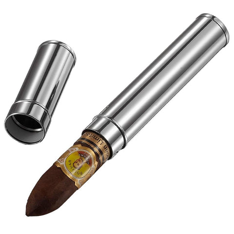Gareth Silver Finish 1 Cigar Tube Case - Shades of Havana