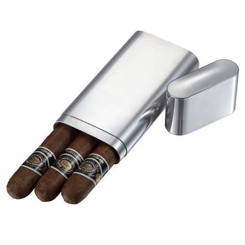 Livorno Polished Stainless Steel 3 Finger Cigar Case - Shades of Havana