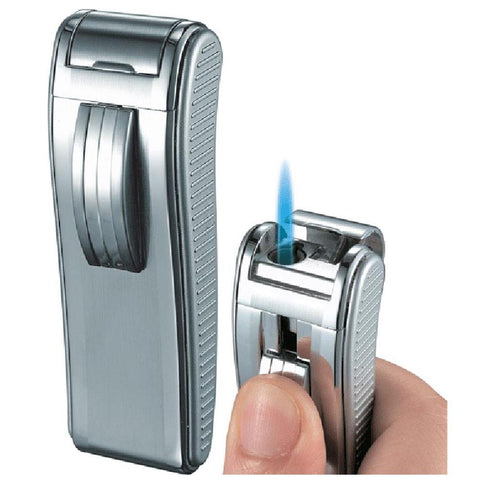 Image of Mako Satin Chrome Wind-Resistant Torch Flame Cigar Lighter - Shades of Havana