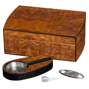 Matte Walnut Humidor Kit With Cutter & Ashtray - Shades of Havana