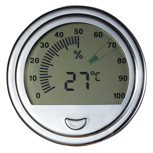 Modern Large Circular Digital Hygrometer - Shades of Havana