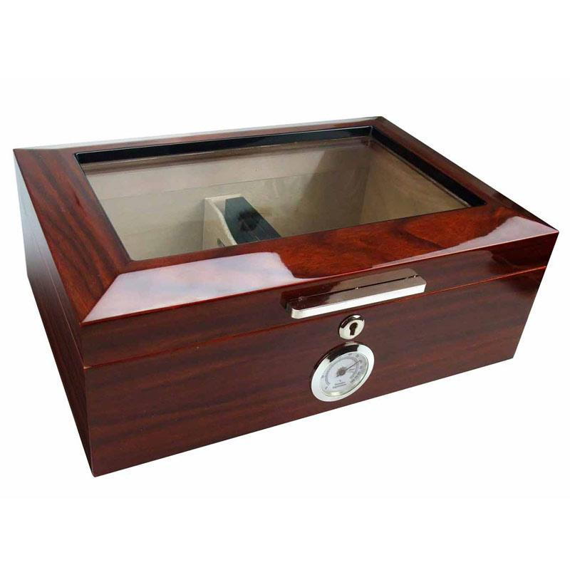 Morello Glass Top Cigar Humidor 100 Cigar Count | Cherry Finish - Shades of Havana
