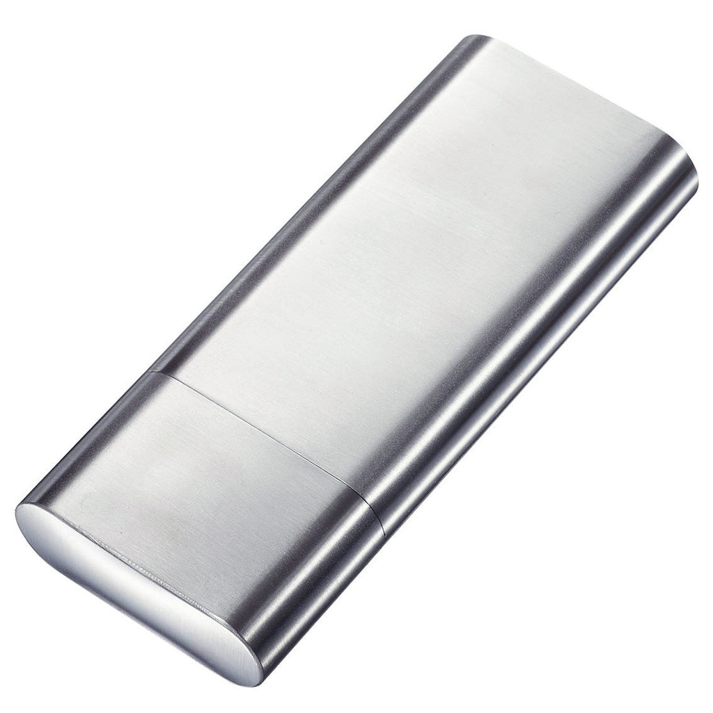 Palencia Polished Stainless Steel 2 Finger Cigar Case with Flask - Shades of Havana