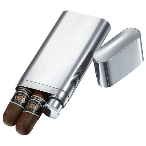 Image of Palencia Polished Stainless Steel 2 Finger Cigar Case with Flask - Shades of Havana