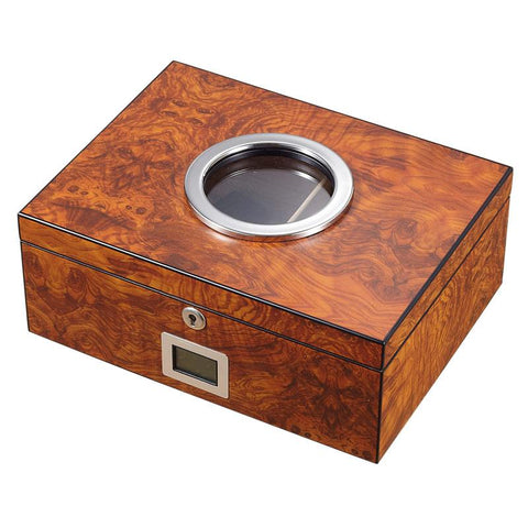 Image of Porthole Glass Top Electronic Humidor 75 Cigar Count | Burlwood - Shades of Havana