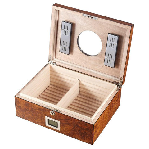 Porthole Glass Top Electronic Humidor 75 Cigar Count | Burlwood