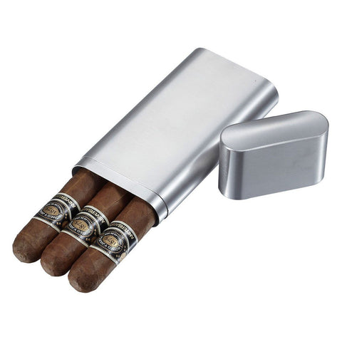 Prato Brushed Stainless Steel 3 Finger Cigar Case - Shades of Havana