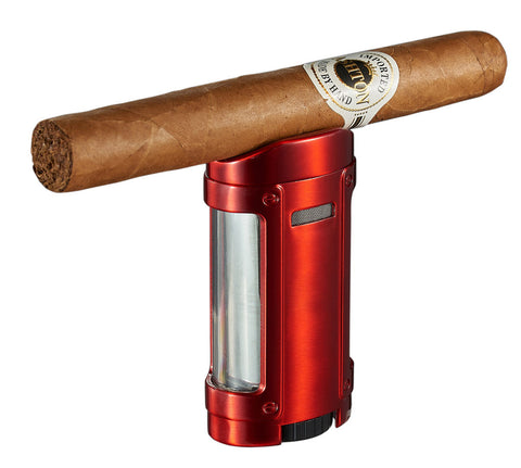 Image of Rhino Brushed Red Quad Torch Flame Cigar Lighter