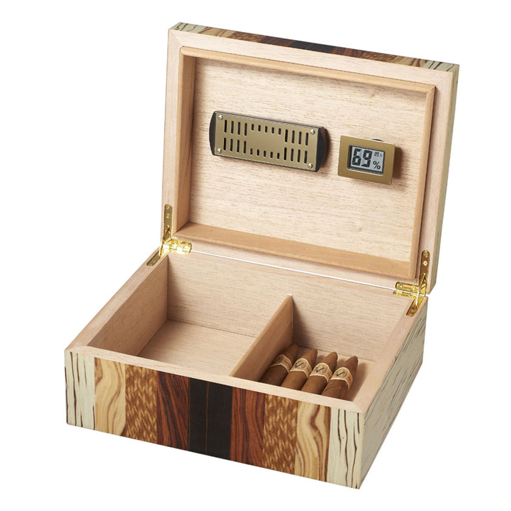 Visol Ridge Mixed Wood 50 Cigar Humidor - Shades of Havana