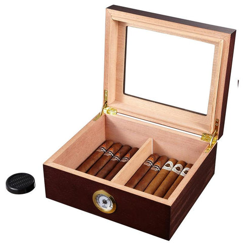 Image of Santa Clara Glass Top Humidor 50 Cigar Count | Rosewood - Shades of Havana