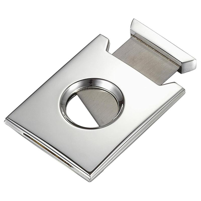 Solt Silver Plated Single Blade Guillotine Cigar Cutter - Shades of Havana