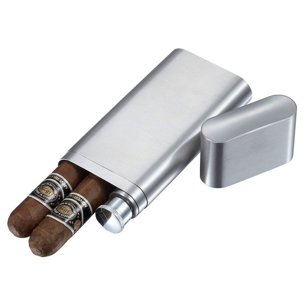 Toledo Stainless Steel 2 Finger Cigar Case with Flask Combo - Shades of Havana