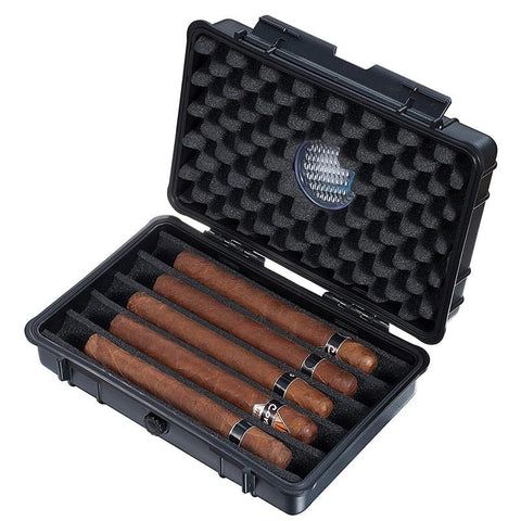 Image of Wendell Hard Plastic Travel Humidor 5 Cigar Count Black - Shades of Havana