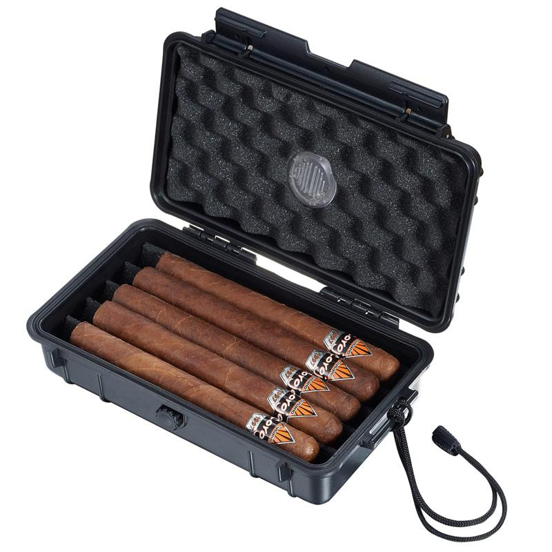 Wyatt Hard Plastic Travel Cigar Humidor 5 Cigar Count - Shades of Havana
