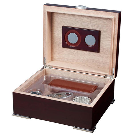 Image of Xander Humidor Kit with Case and Cutter | Burgundy Wood