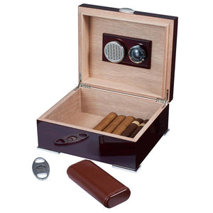 Xander Humidor Kit with Case and Cutter | Burgundy Wood - Shades of Havana