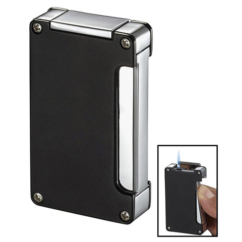 Image of Zidane Wind-Resistant Torch Flame Lighter with Built-in Punch | Black - Shades of Havana