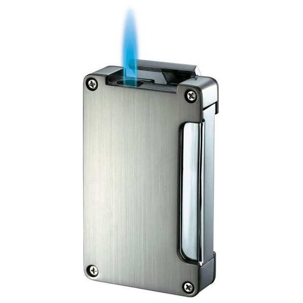 Zidane Wind-Resistant Torch Flame Lighter with Built-in Punch | Chrome - Shades of Havana