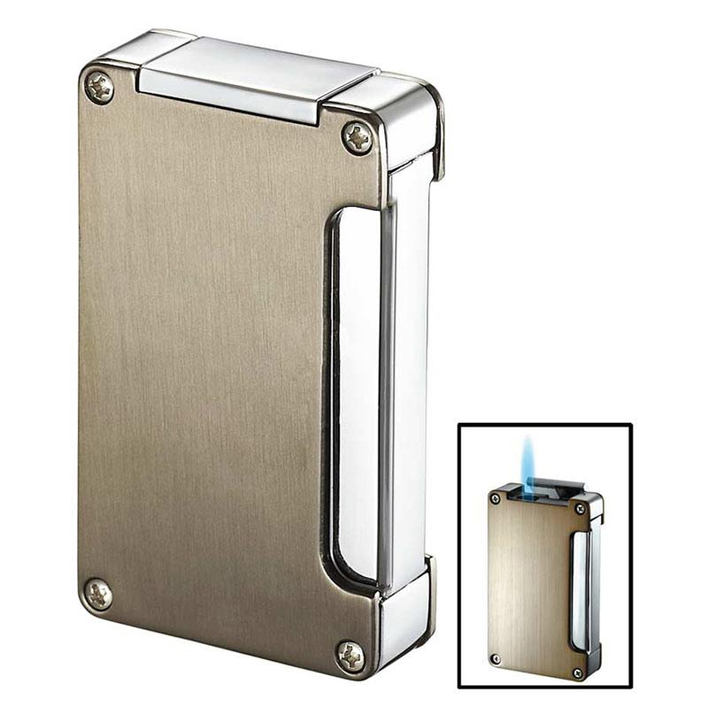 Zidane Wind-Resistant Torch Flame Lighter with Built-in Punch | Nickel - Shades of Havana